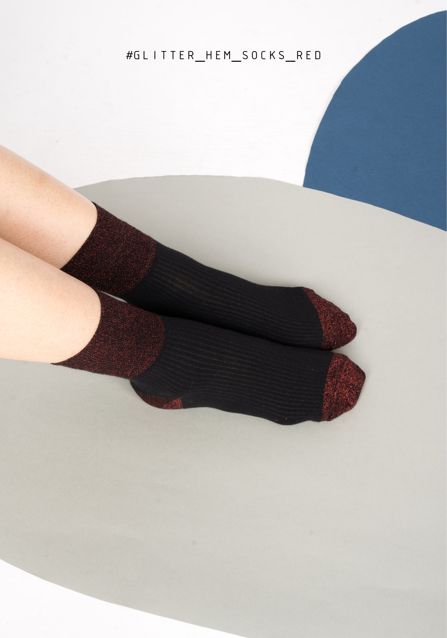 Glitter Hem Socks Red