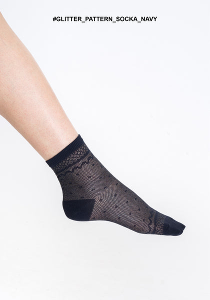 Glitter Pattern Socks Navy - whoami