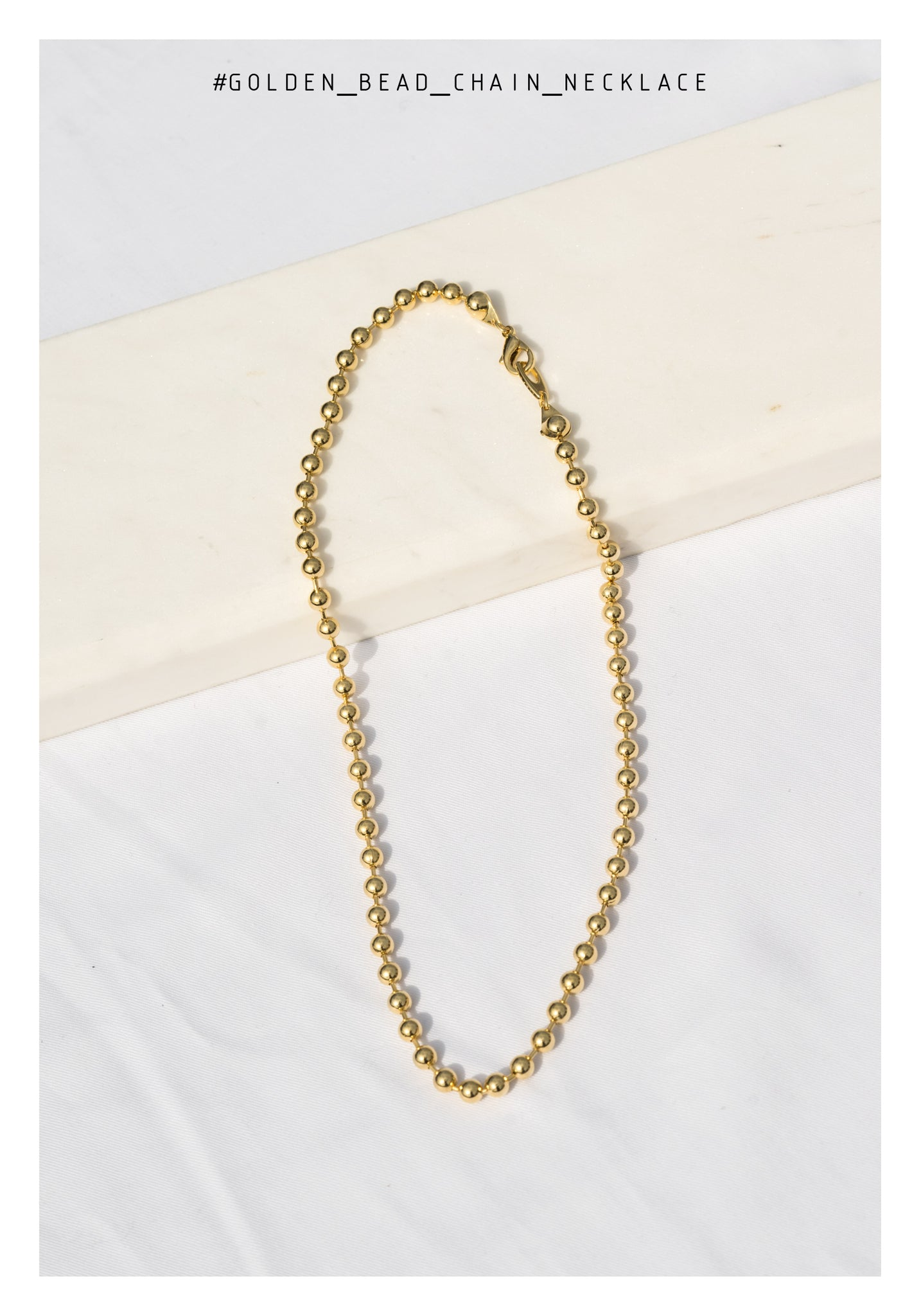 Golden Beads And Chain Necklace