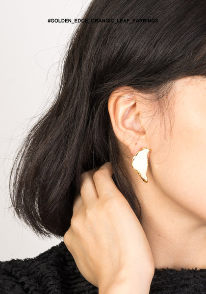 Golden Edge Orangic Leaf Earrings - whoami