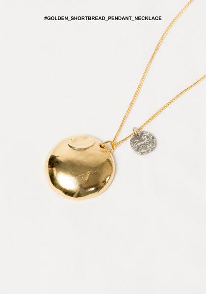 Golden Shortbread Pendant Necklace - whoami