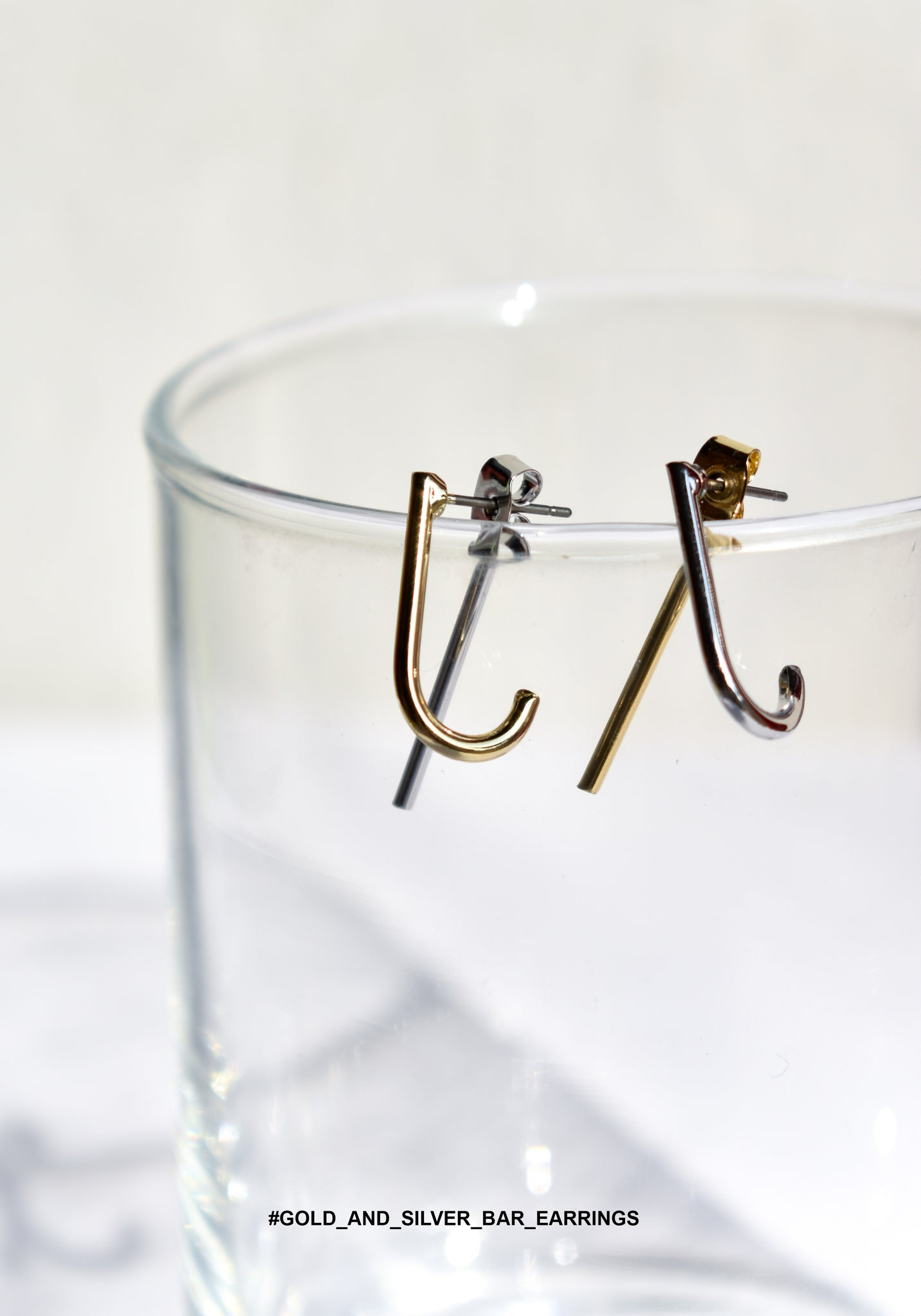 Gold And Silver Bar Earrings - whoami