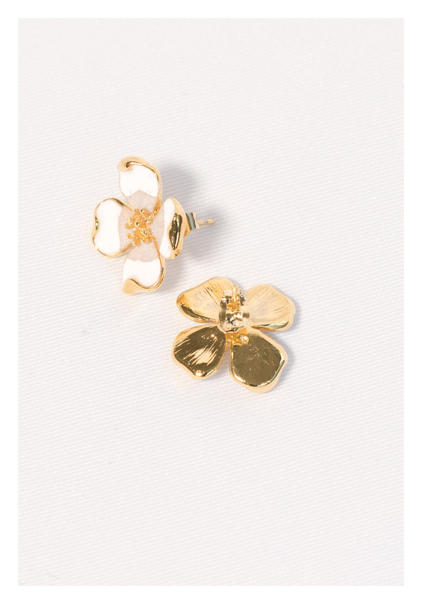 Gold Clover Earrings White - whoami