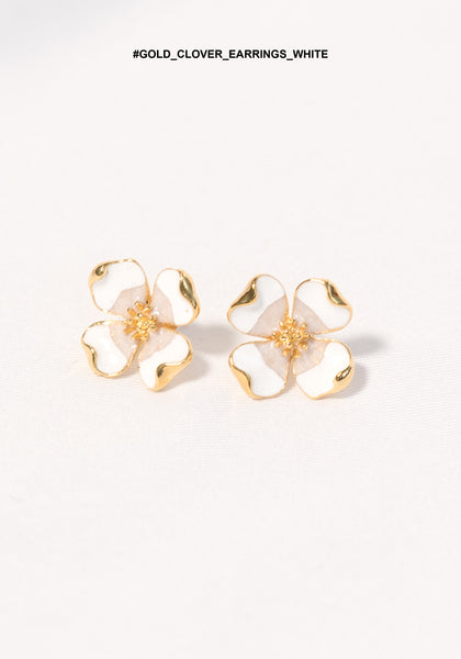 Gold Clover Earrings White