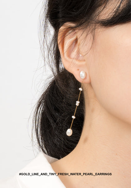 Gold Line And Tiny Fresh Water Pearl Earrings