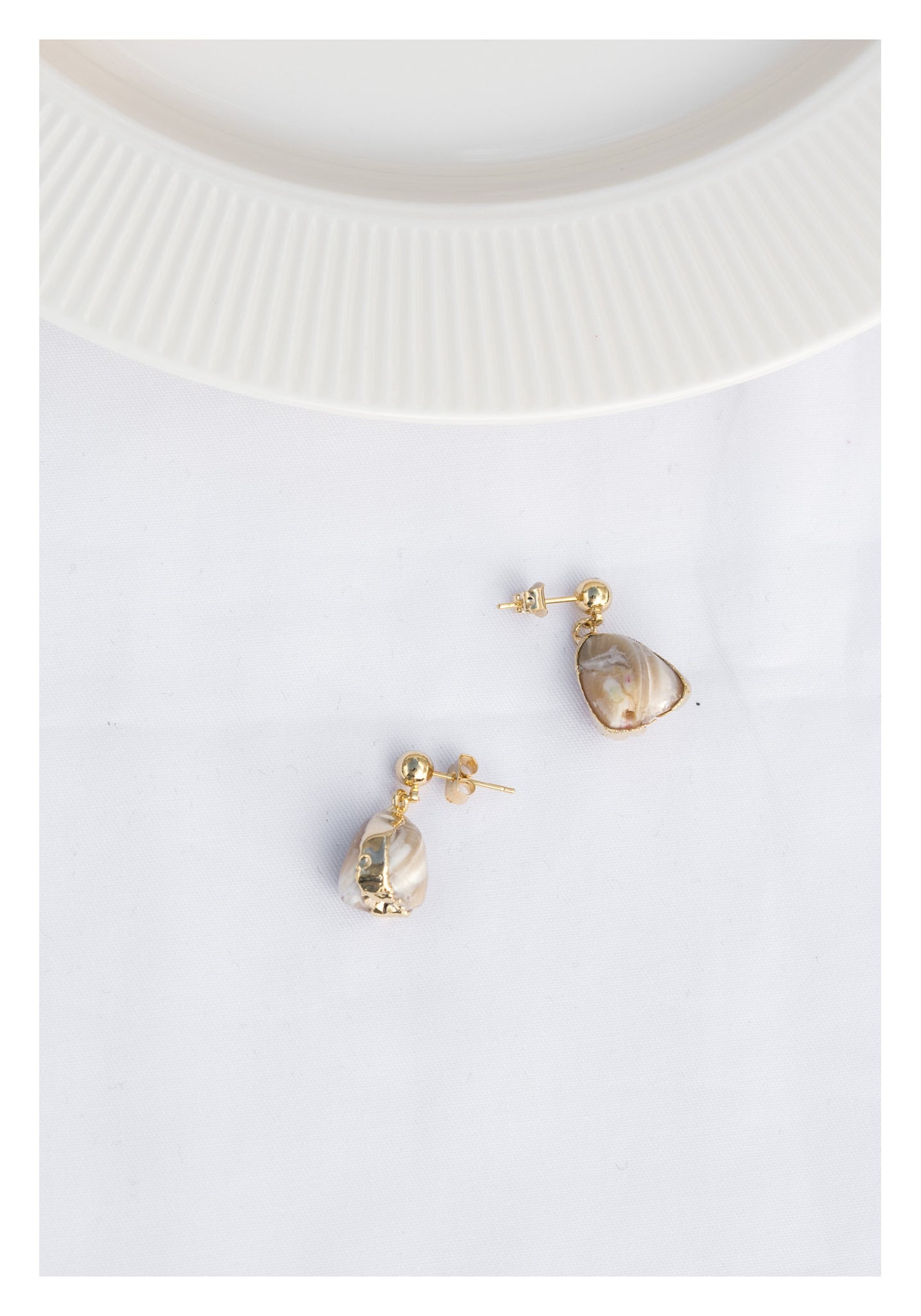 Gold Pleated Shell Earrings
