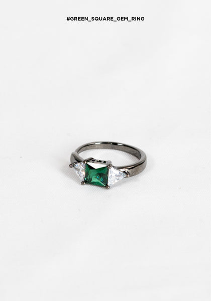 Green Square Gem Ring - whoami
