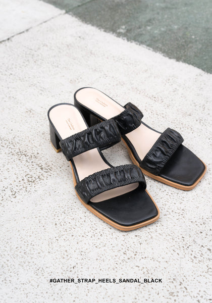 Gather Strap Heels Sandals Black - whoami