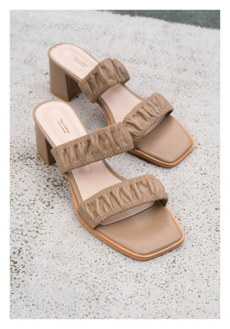 Gather Strap Heels Sandals Khaki - whoami