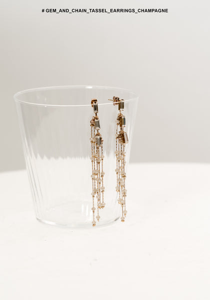 Gem And Chain Tassel Earrings Champagne - whoami