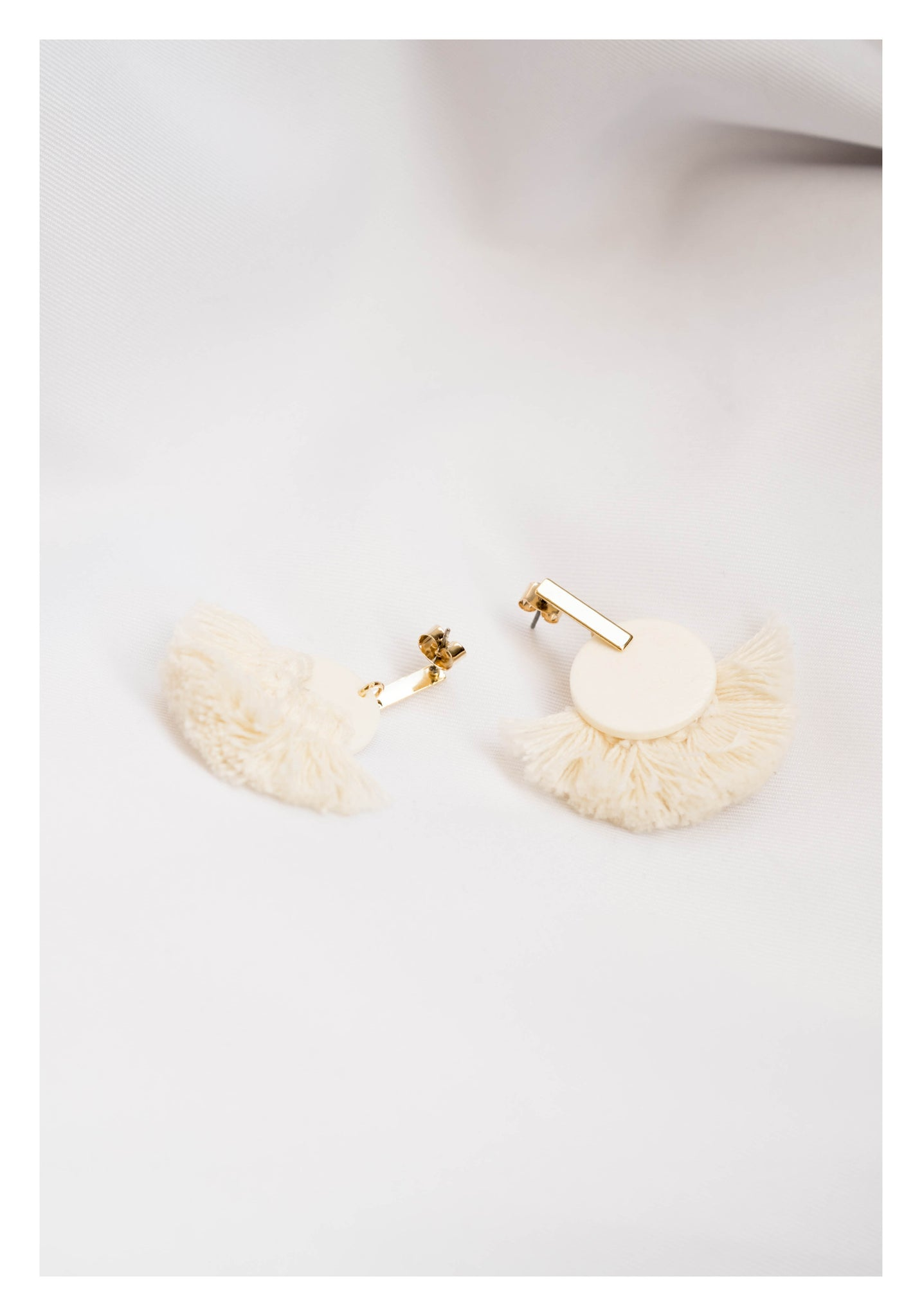 Gold Bar Hemisphere Tassel Earrings Ivory - whoami