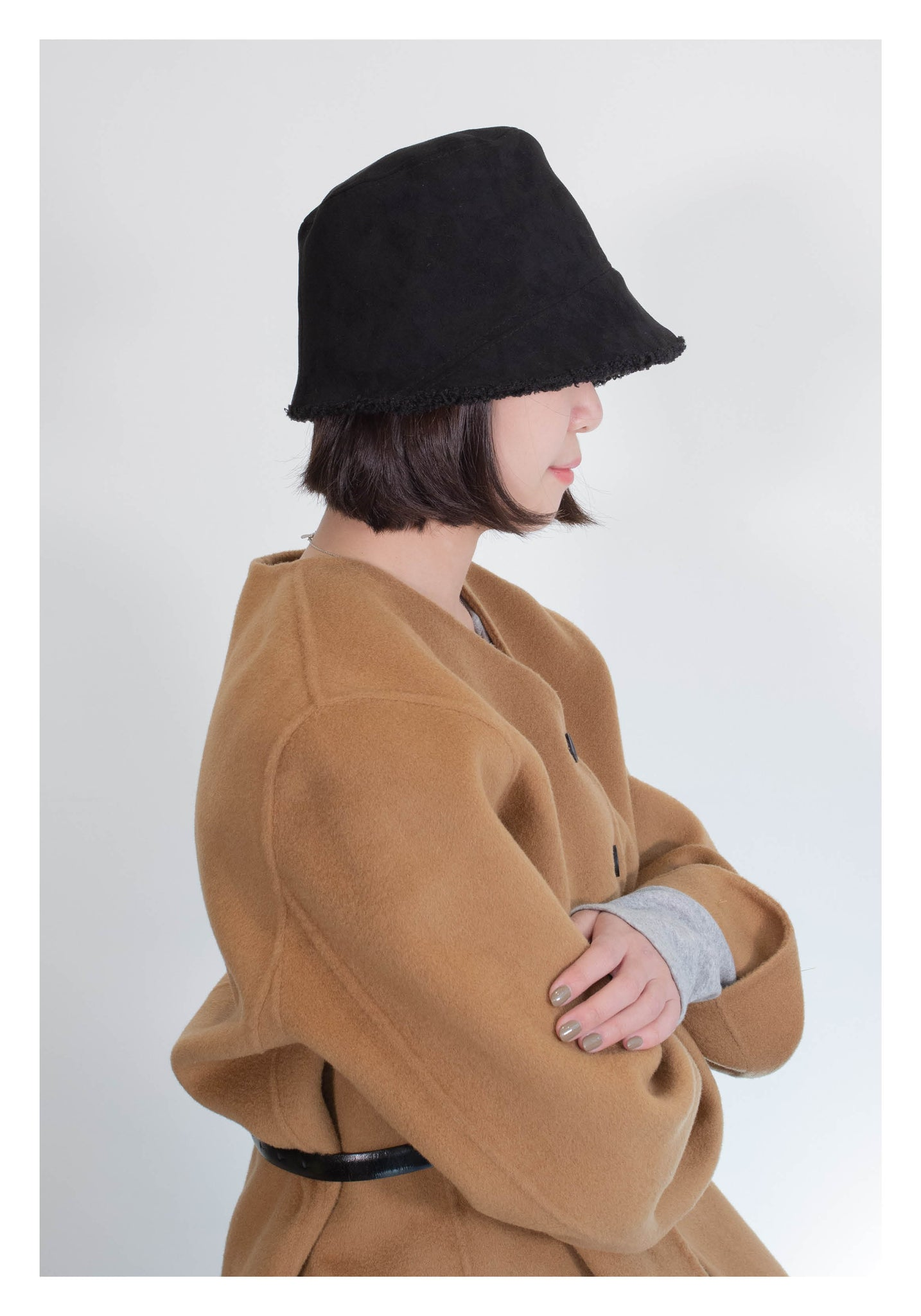 Double Sides Shearling Suede Buckle Hat Black - whoami