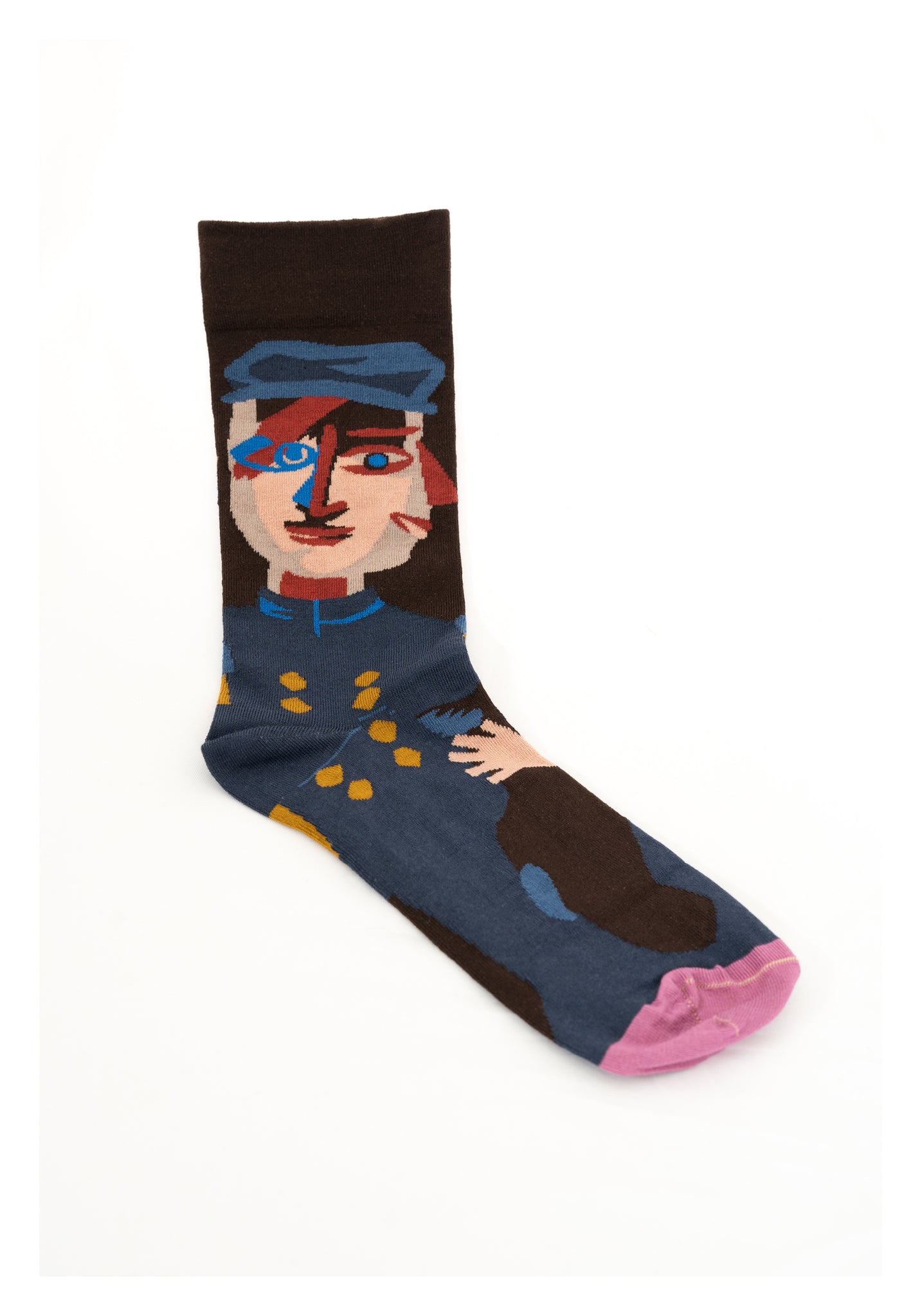 Head Pattern Socks Dark Brown - whoami