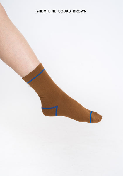 Hem Line Socks Brown - whoami