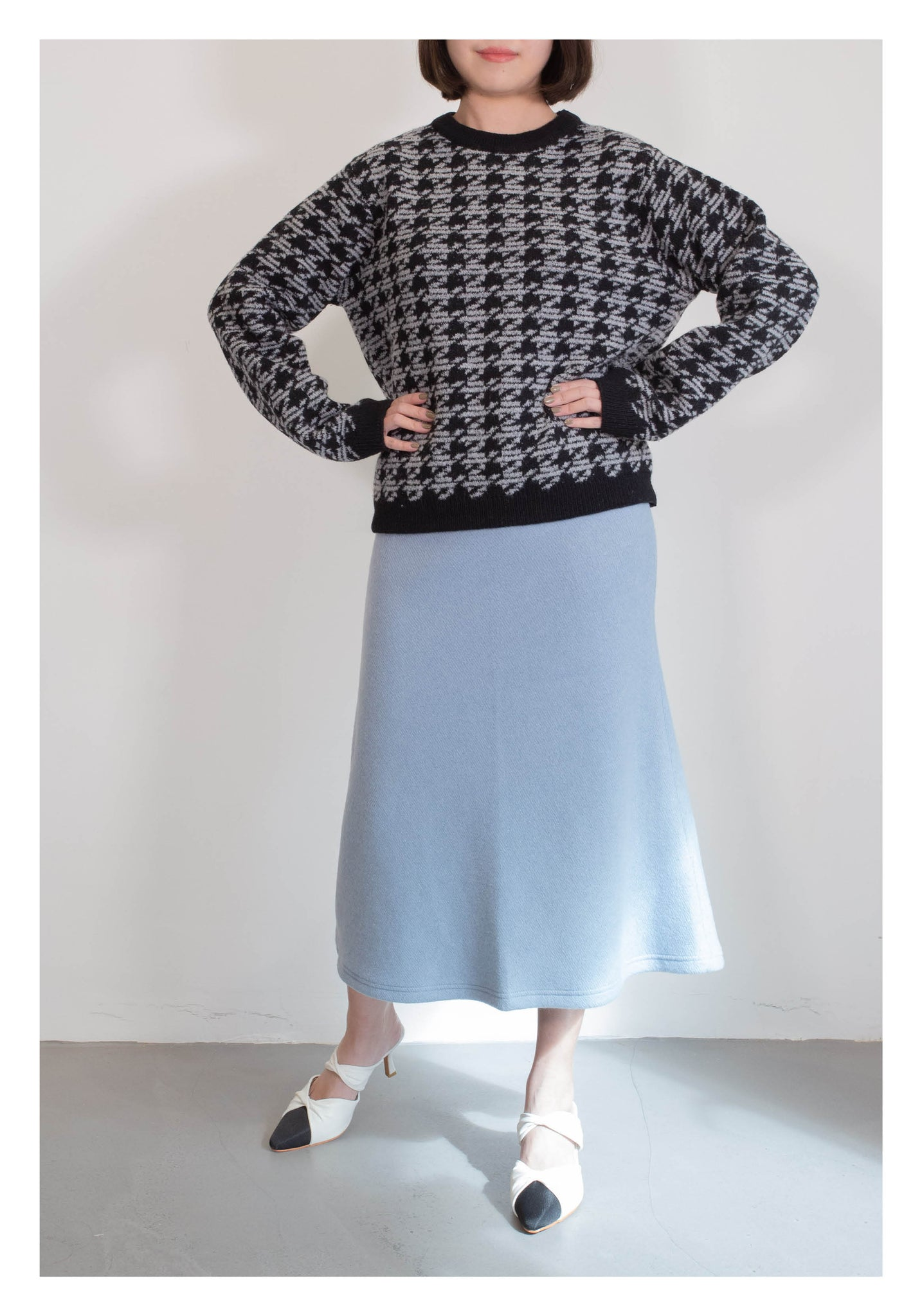 Houndstooth Pattern Knit Top Black - whoami