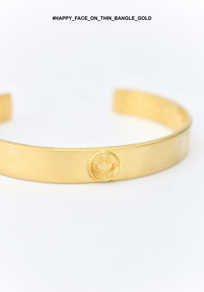 Happy Face On Thin Bangle Gold