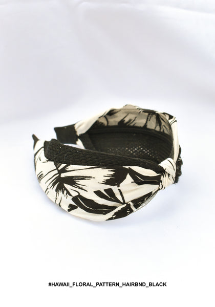 Hawaii Floral Pattern Hairband Black - whoami