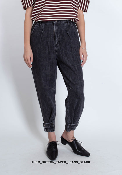 Hem Button Taper Jeans Black - whoami