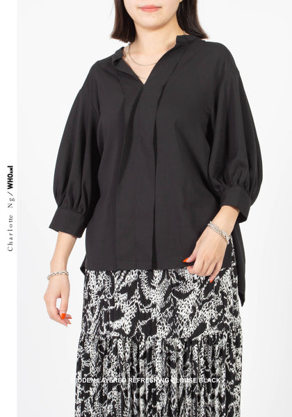 Hidden Layered Refreshing Blouse Black