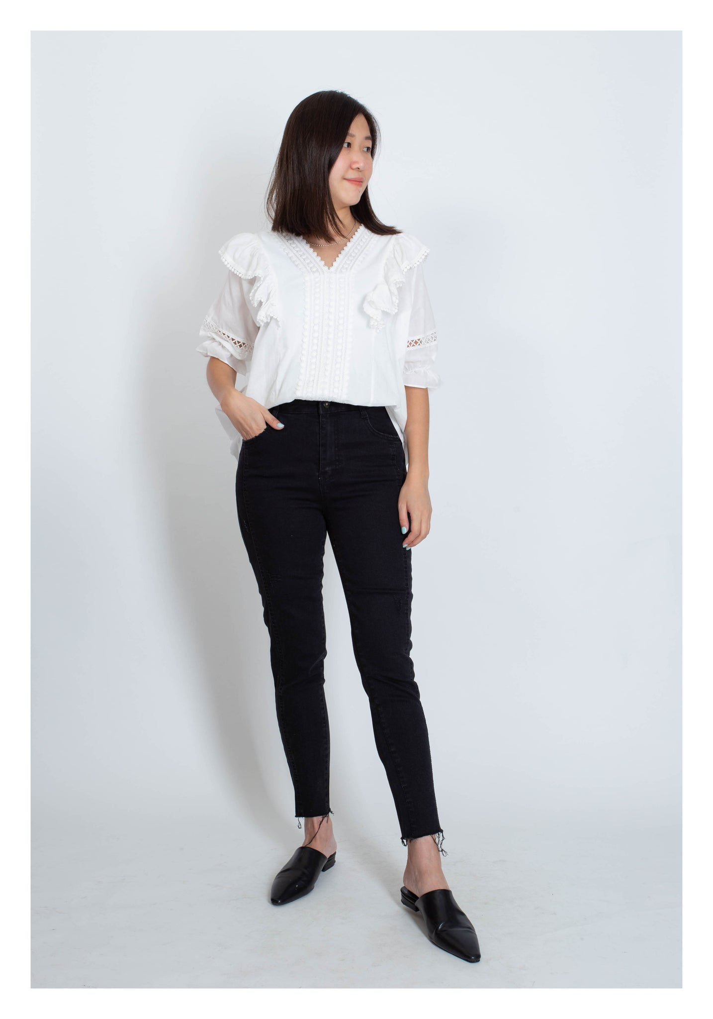 High Waist Slim Cut Black Jeans - whoami