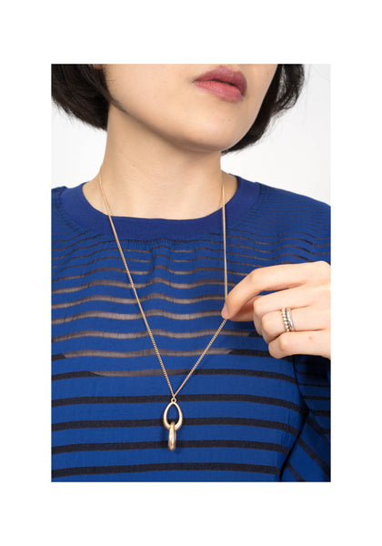 Double Oval Pendant Long Necklace Gold - whoami