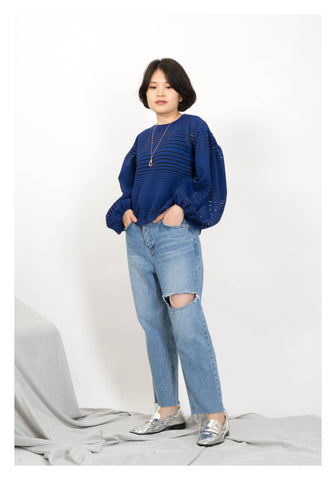 Horizontal Cut Straight Jeans