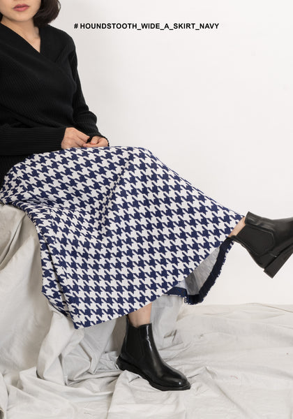 Houndstooth Wide A Skirt Navy