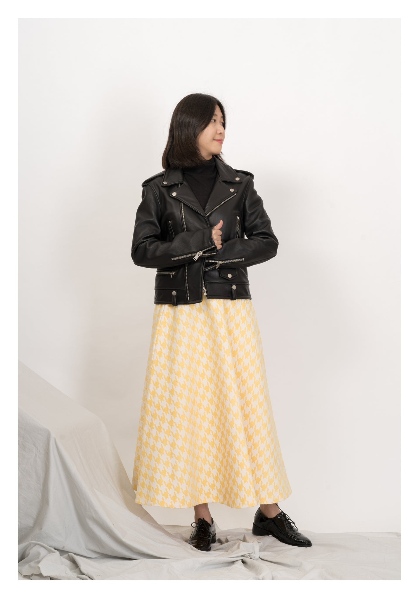 Houndstooth Wide A Skirt Yellow - whoami
