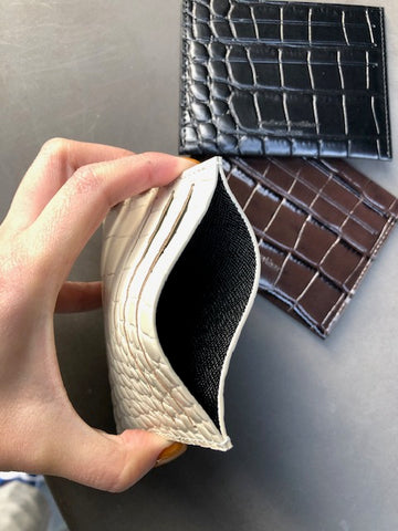 Croc Effect Leather Card Holder