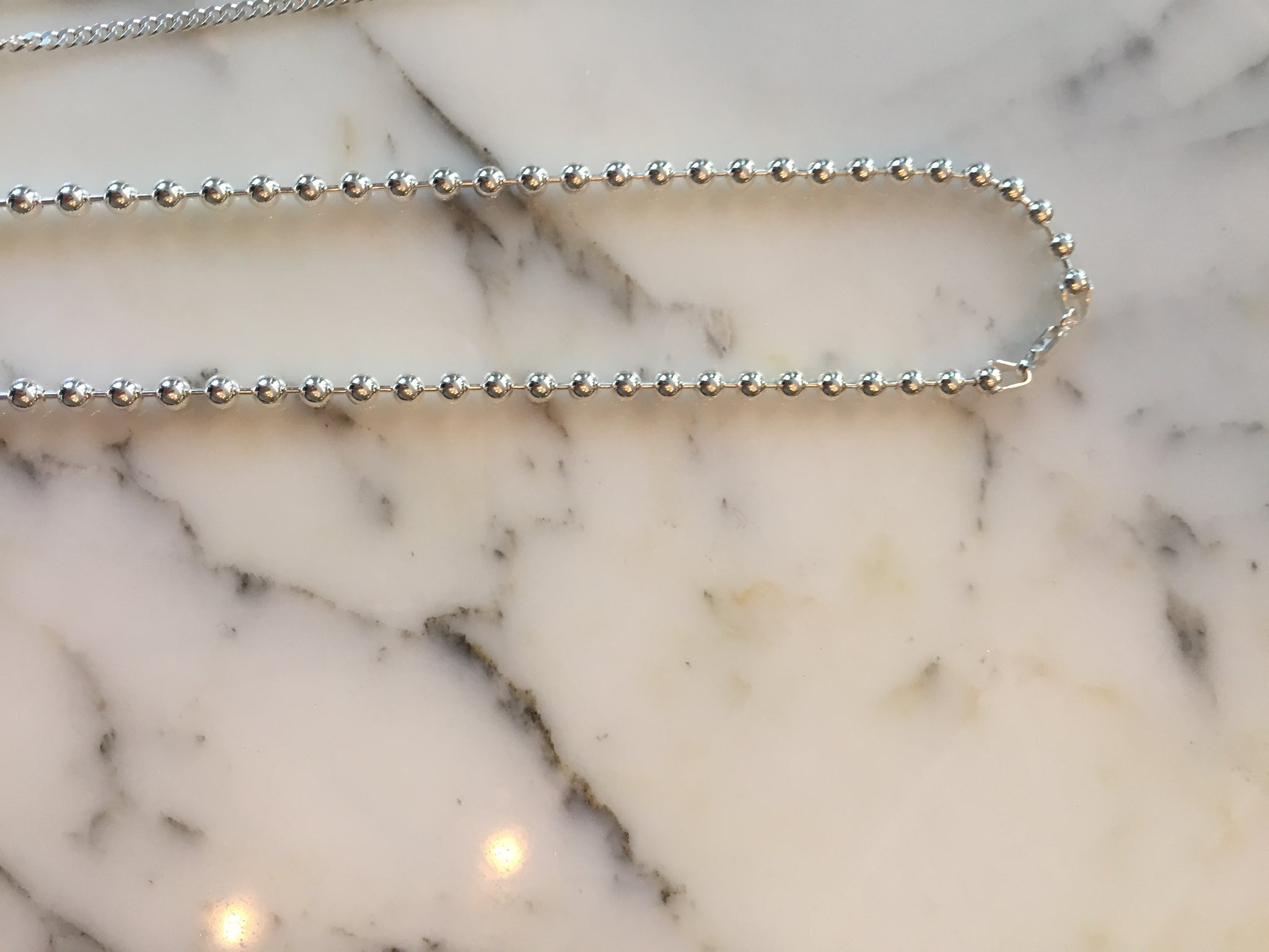 925 Silver Beads Bar Necklace