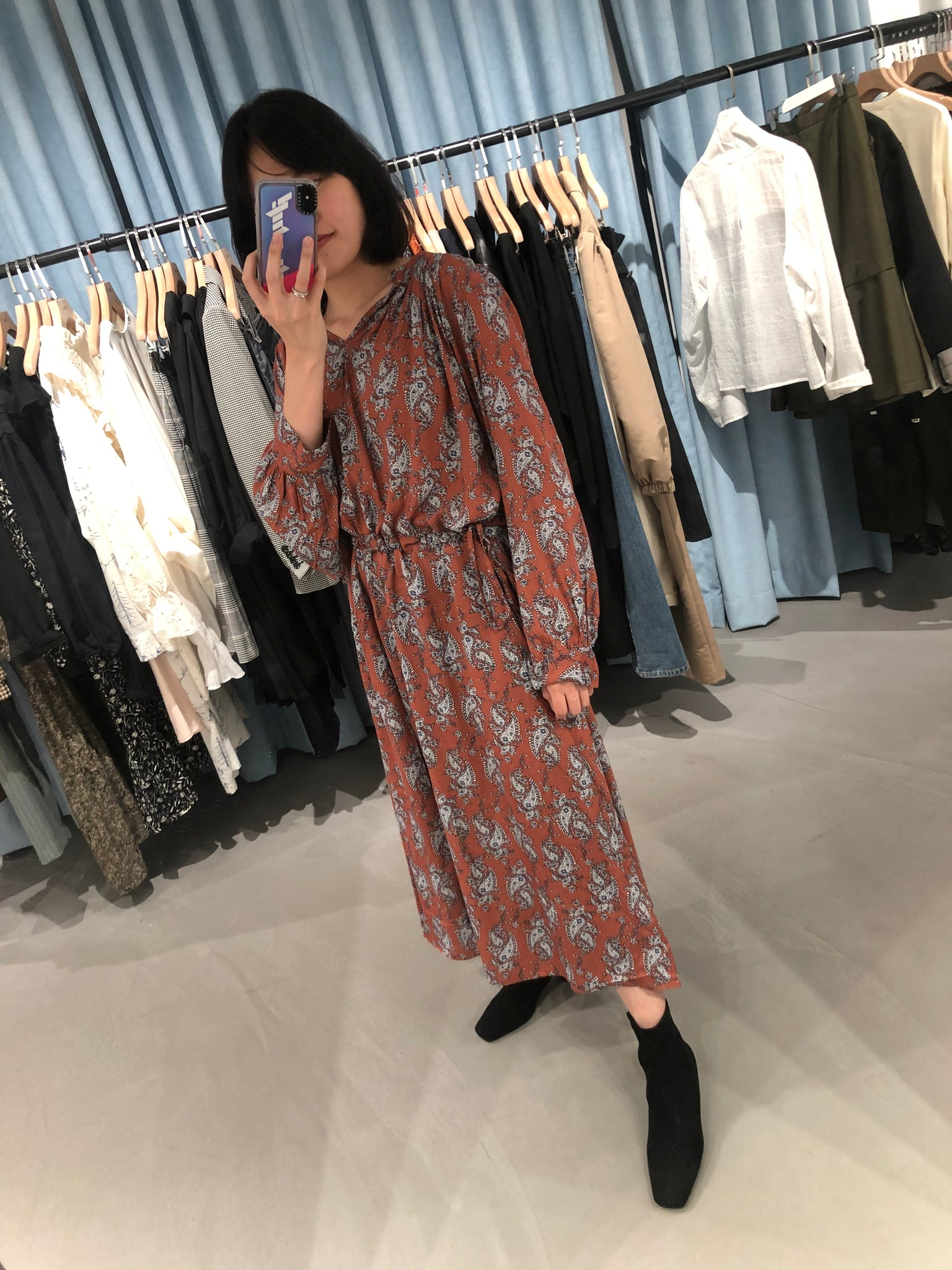 Paisley Pattern Dress Orange - whoami