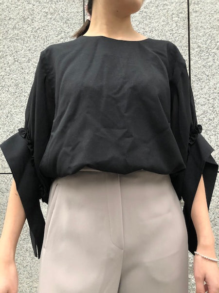 See Through Sleeve Tie Cuff Blouse Black