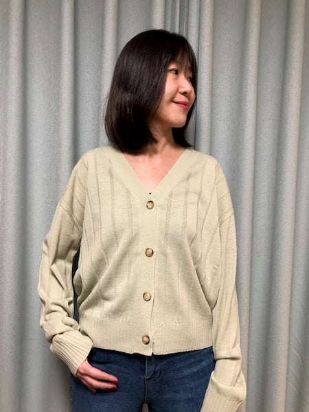 Ribbed V Neck Cardigan Green - whoami