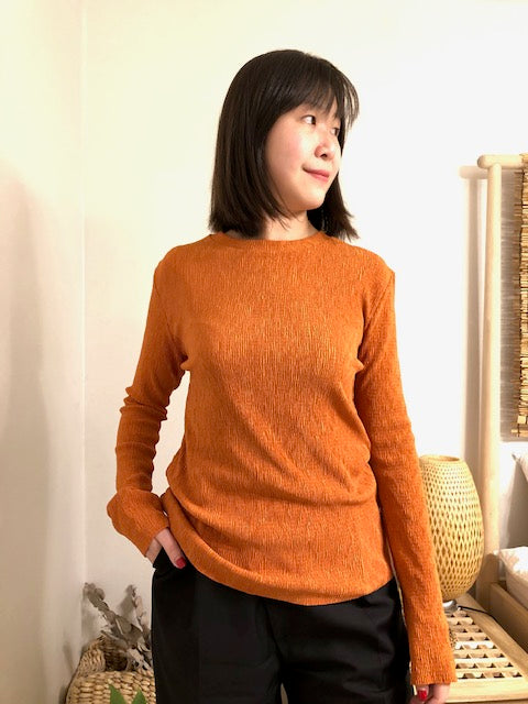 Silky Wrinkle Top Orange - whoami