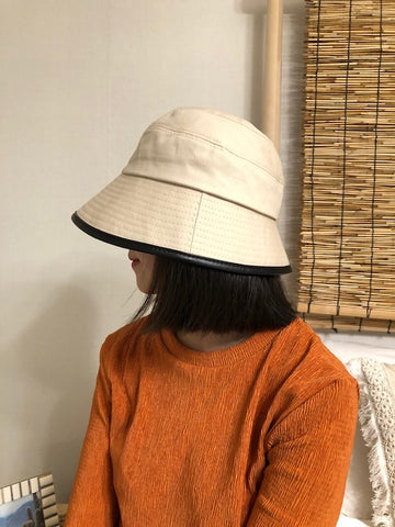 Faux Leather Seaming Bucket Hat Beige - whoami