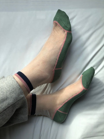 See Through Simple Line Socks Green - whoami
