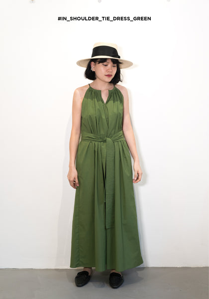 In Shoulder Tie Dress Green