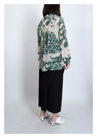 Ink Pattern Chiffon Set Green / Black - whoami