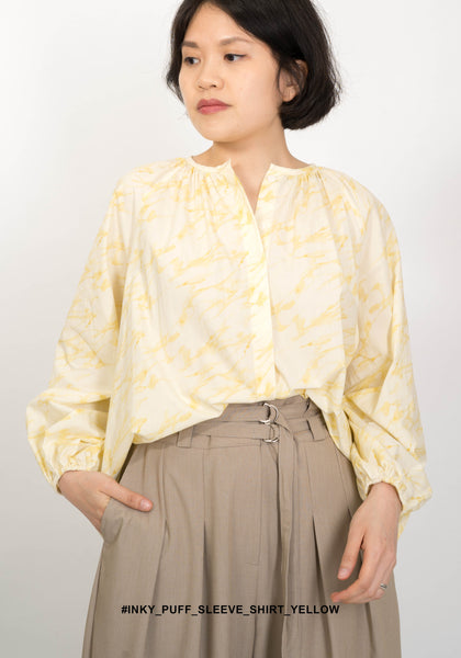 Inky Puff Sleeve Shirt Yellow