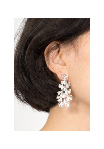 Tiered Leaves Earrings Silver
