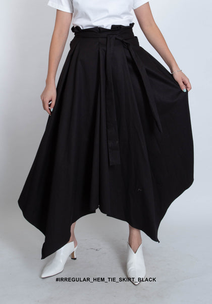 Irregular Hem Tie Skirt Black - whoami