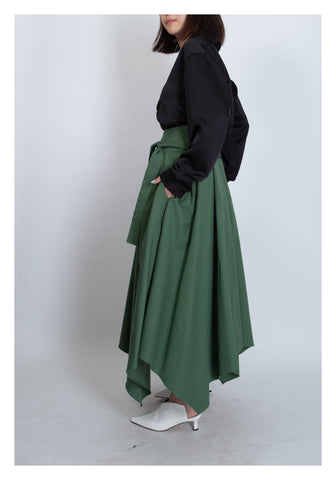 Irregular Hem Tie Skirt Green - whoami