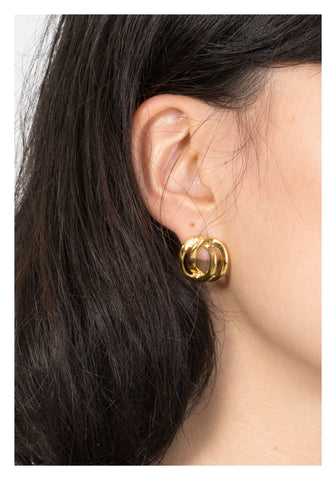 Double Organic Form Earrings Gold - whoami