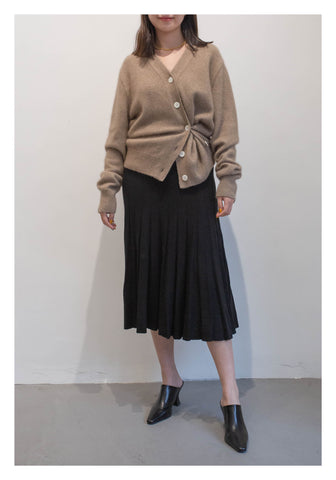 Knit Pleated Skirt Black - whoami