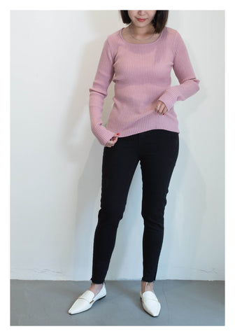 Square Neck Ribbed Knit Pink - whoami