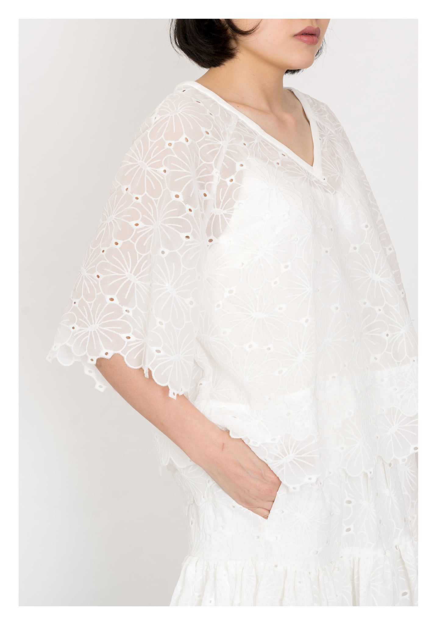 Kate V Neck Blouse White - whoami