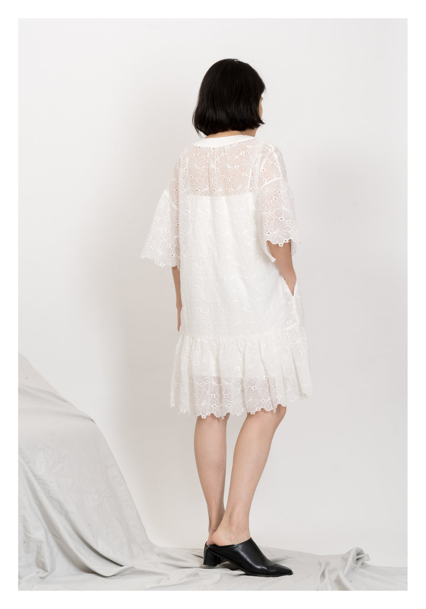 Kate V Neck Flare Sleeve Dress White - whoami