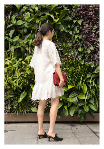 Kate V Neck Flare Sleeve Dress White
