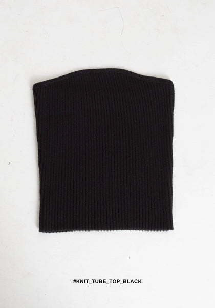 Knit Tube Top Black - whoami