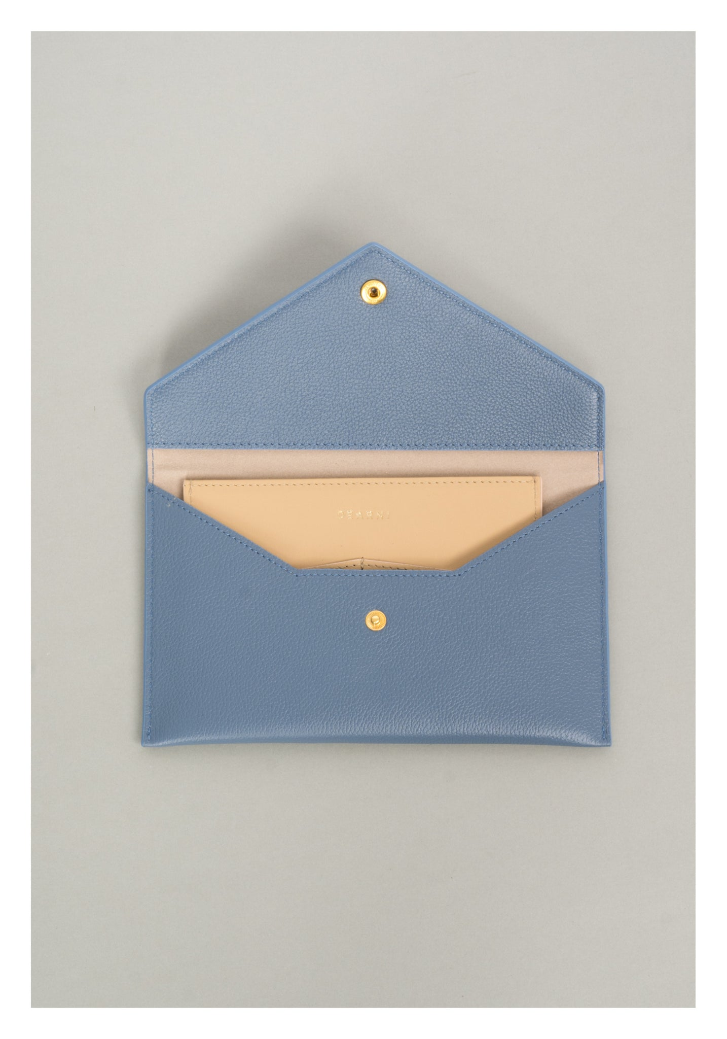 Leather Envelope Long Wallet Blue